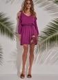 Morhipo Beach Bant Detaylı Elbise Mor